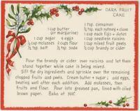 VINTAGE CHRISTMAS DARK FRUIT CAKE RECIPE 1 VICTORIAN VILLAGE HOUSE SNOW ART CARD