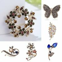 Fashion Flower Branch Crystal Plant Brooch Pin Wedding Party Women Jewelry Gift
