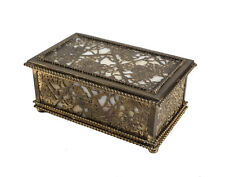 Tiffany Studios Grapevine Pattern Bronze and Brown Slag Glass Jewelry Box. c1900