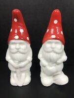 "Gnome Salt and Pepper Shakers 5"" tall Porcelain Ceramic"