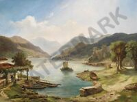 Painting Brioschi Italian Lake Landscape Wall Canvas Art Print
