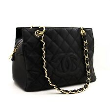 z30 CHANEL Authentic Caviar Chain Shoulder Bag Shopping Tote Black Quilted Purse