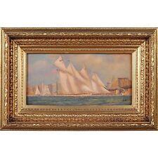FTN030-SC006-2, Niagara Furniture, Ships Sailing by Bridge Scene, Oil Painting