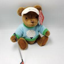 "Gund Golf Teddy Bear Plush 2369 Bogey 12"" jointed Brown Hang tag"