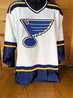 Vintage CCM St. Louis Blues NHL Authentic White Hockey Jersey Size L🔥🔥🔥🔥🔥
