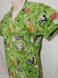 Disney Bambi Thumper Flower Spring Green Scrubs Shirt Top Nurse Women Medium