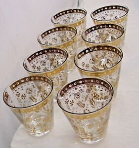 GOLD TRIMMED FANCY SET OF EIGHT MATCHING HIGH BALL BAR GLASSES 1960s