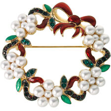 Gold Plated Christmas Wreath Brooch With Swarovski Crystal Ari D Norman