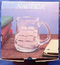 New listing Nautica set of 4 hand cut crystal beer mugs 16 oz. made in Turkey-New open box