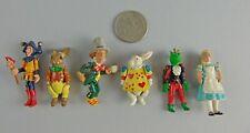 Rare 6pc Hantel Alice In Wonderland Pewter Figurine Set Mad Hatter,Rabbit,Jester