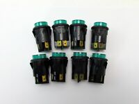 Lot of (8) Arcolectric Push Button Green Panel Mount Switches, 250V