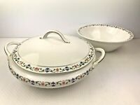 Vintage JOHNSON BROS Made in England Round Serving Bowls One w Handles and Lid