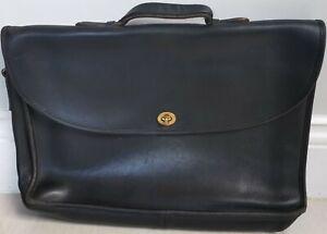 """Vintage Coach Authentic D5C-5265 Briefcase Black Leather Messenger Bag 15"""""""