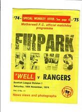 Motherwell v Rangers - 16/11/1974