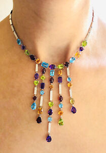 14K Solid White Gold 39.28 Ct Diamond & Multi Color Gems Large Necklace
