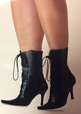 New California Costume Black Lace-Up Witch Boots Costumes Womens  Medium  7-8