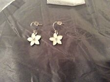 Monet Star Flower Opal Colored Silver Plated Earrings NWOT!
