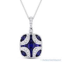 1.73 ct Blue Sapphire & Diamond Pendant in 18k White Gold w/ 14k Chain Necklace
