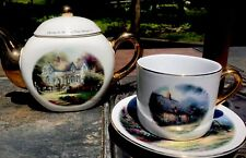 Set ThomasKinkade Home Is Where The Heart Is Tea Pot Moonlight Cottage CupSaucer