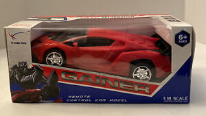 Gainer One Key Deformation Remote Control Car Red 1:18 Scale New In Box