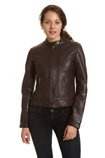 Excelled Women's Leather Scooter Jacket Brown XL #NK8Q6-M825