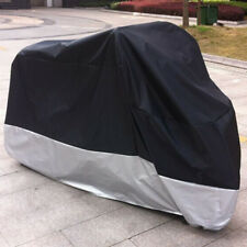XXL Motorcycle Windproof Waterproof Dustproof UV Protection Cover Black+Silver