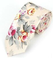 Hawaiian Shirt Neck Tie Beige Tan Flower Floral NeckTie Luau Hawaii USA SELLER