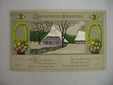 VINTAGE CHRISTMAS POSTCARD HOUSES IN THE SNOW AND FLOWER BASKETS 1913