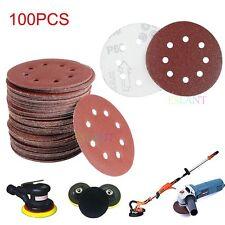 100x 125mm Discos Lijado Papel De Lija 40,60,80,120,240 orbital Lijadora grano