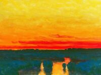 Red Skies At Night Realism Landscape OIL PAINTING ART IMPRESSIONIST Original New