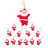 Festive Santa Vintage Christmas Tree Decorations - Red (12 Pack)