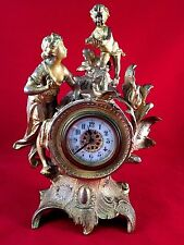 French Antique Bronze gilded mantel Clock c19th