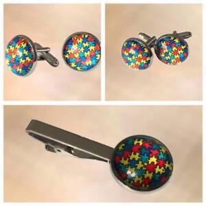 NEW Mens Autism Awareness Puzzle Cuff Links  & Tie Clip Set Accessories Work