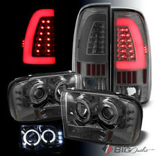 For 99-04 F250/350/450/550 Smoked Pro Headlights + Light-Bar LED Tail Lights