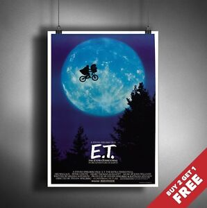 A3 / A4 Size  E.T, The Extra Terrestrial Vintage Movie Poster * Classic Wall Art