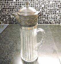 Antique Cut Glass & Silver Plated Wine Carafe