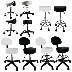 Salon Chair Bar Swivel Stool Office Roller Wheels Portable Height Adjust Leather