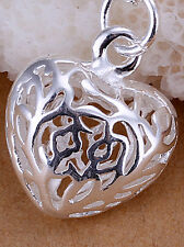 Heart Necklace Snake Chain Pendant 18 inch Chain Hallmarked Sterling Silver 925