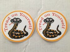 NOS Vintage 2 - Decals /stickers Tread On Yourself Hippie Peace USA Hot Rat Rod