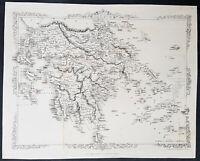 1860 John Rapkin Large Antique Map of Greece - 22240
