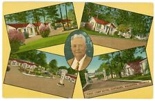 Postcard - Valdosta, Georgia, Pine Camp Hotel Cottages Multi-View, Linen Card