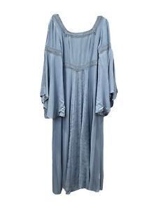 Holy Clothing Dress Blue Embroidered Boho Renaissance Festival Arwen Maxi Sz L