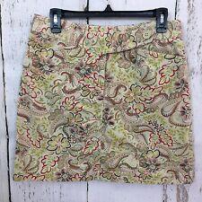 Ann Taylor Loft Size 10 Floral Paisley Skirt 100% Cotton Greens Reds A-Line