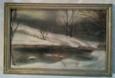 Vtg Watercolor P. Funk Artist Framed Picture BEAUTIFUL snow Winter Stream scene