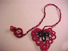 Tatted Bookmark Red Black Lady Bug Red Heart Lace Book Gift Dove Country Tatting