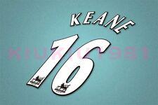 Manchester United Keane #16 PREMIER LEAGUE 97-06 White Name/Number Set
