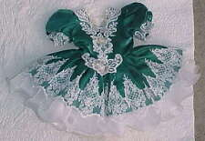 Size 2T Green Dress Princess Sleeves White Applique W/ Pearls Fully Lined
