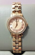 Fossil Womens Watch Rose Gold Tone Glitz 3 Hand Stainless BQ1430 NWT