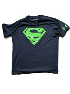 Under Armour Alter Ego DC Comics M Superman Neon Green Logo Black Tee Shirt NEW