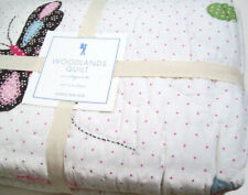 Pottery Barn Kids Woodlands Butterfly Owl Birds Flowers Twin Quilt New